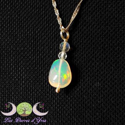 Pendentif Opale Welo & Labradorite