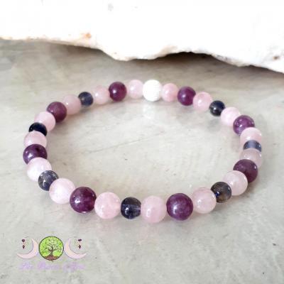 Bracelet Quartz rose, Lépidolite & Cordiérite