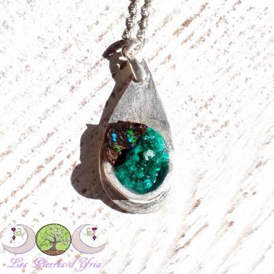 Pendentif Dioptase & Opale boulder