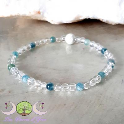 Bracelet Tourmaline Bleue & Cristal de Roche