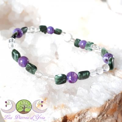 Bracelet Charoïte, Séraphinite & Cristal de Roche [Lâcher-prise]