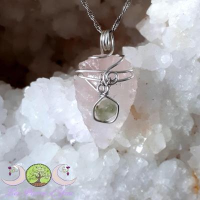 Pendentif Quartz rose & Moldavite