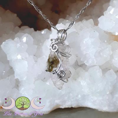 Pendentif kunzite [cristal brut] & Moldavite