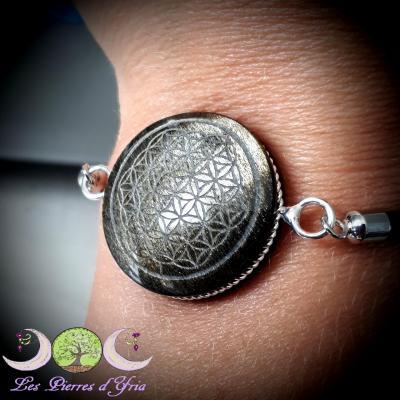 Bracelet Obsidienne Dorée & Fleur de vie