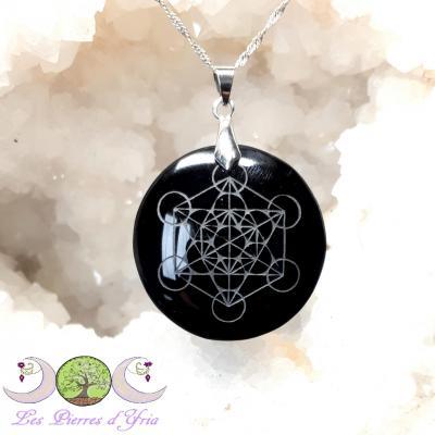 Pendentif Obsidienne noire & Sceau de Métatron
