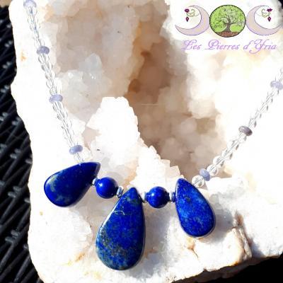 Collier Lapis-Lazuli, Tanzanite & Cristal de roche