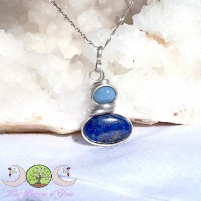 Pendentif Lapis-Lazuli & Opale bleue