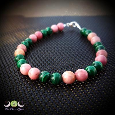 "Bracelet boules ""ANTI-MAUX"" Malachite & Rhodochrosite"