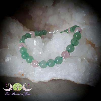 Bracelet Aventurine & Quartz Rose