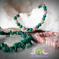 Bracelets malachite et rhodochrosite