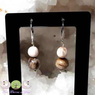 Boucles d'oreille Bois Fossile & Scolécite
