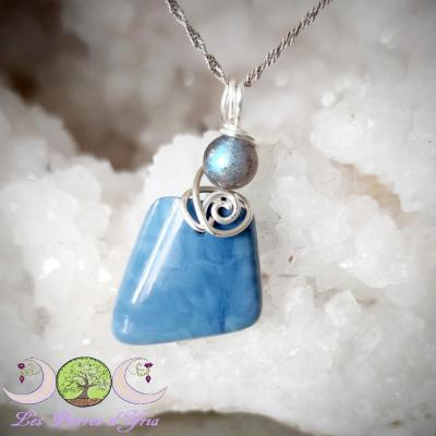 Pendentif Opale Bleue [Pérou] & Labradorite