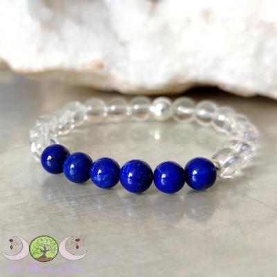 Bracelet Cristal de Roche & Lapis-lazuli