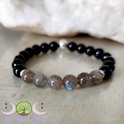 Bracelet PROTECTION Labradorite & Tourmaline noire