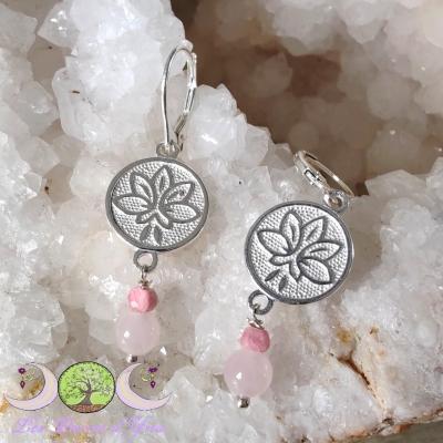 Boucles d'oreilles Lotus ; Quartz Rose & Rhodochrosite