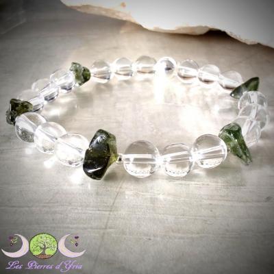 Bracelet Moldavite & Cristal de Roche