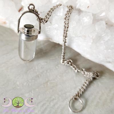 Pendule Moldavite & Cristal de roche [Argent 925]
