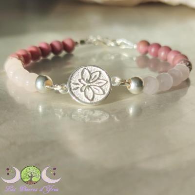 Bracelet Lotus quartz rose & rhodonite
