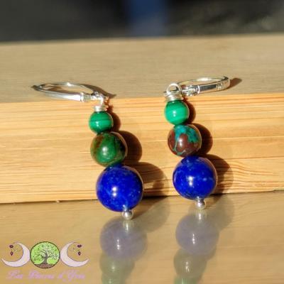 Boucles d'oreille Lapis-Lazuli, Azurite, Malachite