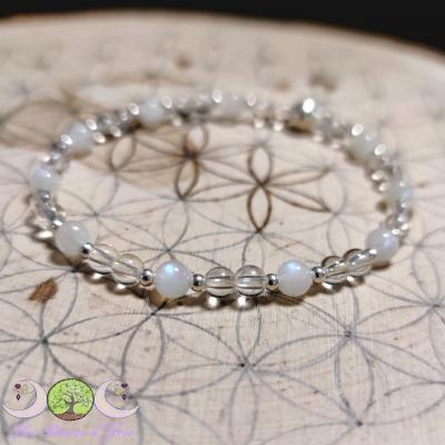 Bracelet Péristérite & Cristal de roche