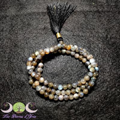 Collier Mala Labradorite - 108 perles