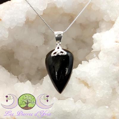Pendentif Obsidienne Dorée & Triquetra