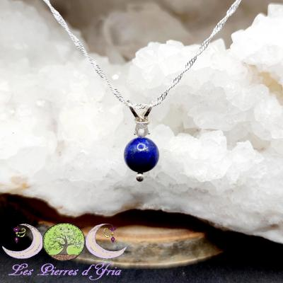 Pendentif Lapis-Lazuli & Cristal de Roche