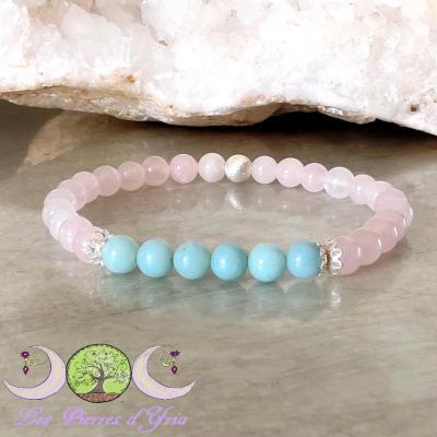 Bracelet Amazonite & Quartz rose
