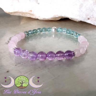 Bracelet Quartz rose, Apatite bleue, Améthyste