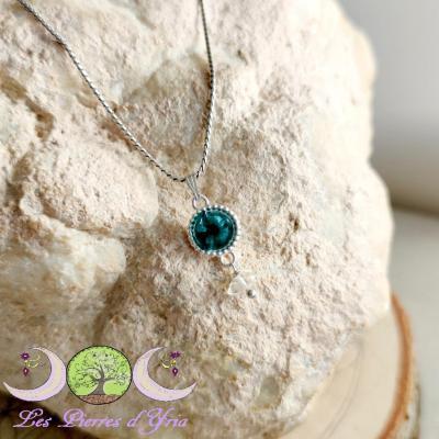 Pendentif Dioptase & Diamant d'herkimer