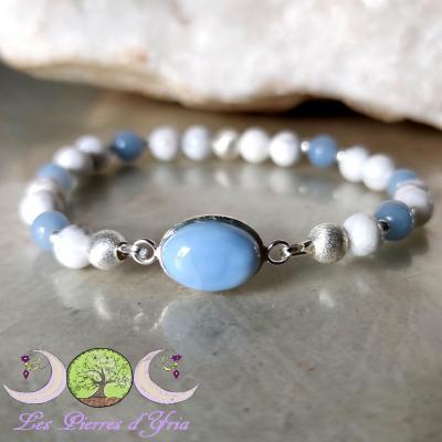 Bracelet Opale bleue, Magnésite & Angélite