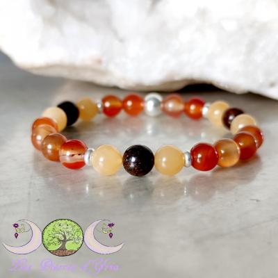Bracelet Cornaline, Calcite orange & Bronzite