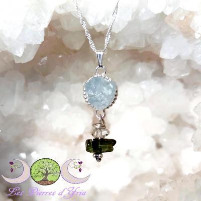 Pendentif Moldavite [Chlum], Célestite & Diamant Herkimer