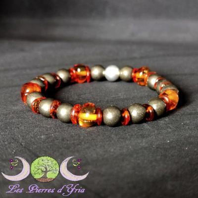 Bracelet Ambre & Pyrite