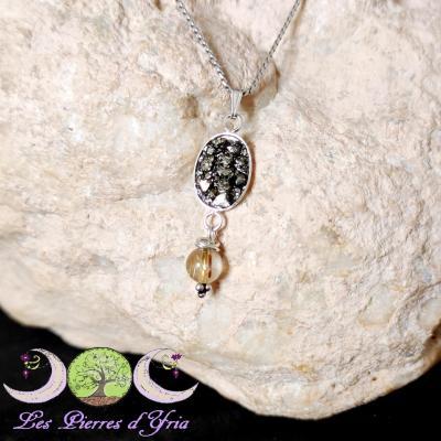 Pendentif Pyrite & Quartz rutile