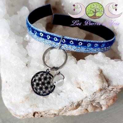 Pendentif Cristal de roche & Fleur de Vie (pour chien & chat)