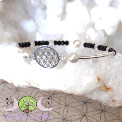 Bracelet Spinelle noir & Fleur de Vie