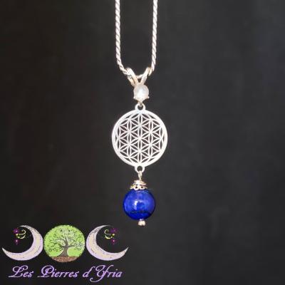 Pendentif Lapis-Lazuli, Labradorite & Fleur de vie