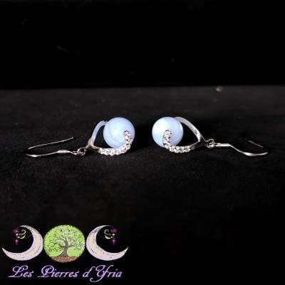 Boucles d'oreilles Calcédoine [agate blue lace]