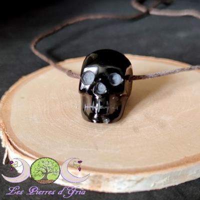 Pendentif crane obsidienne oeil céleste