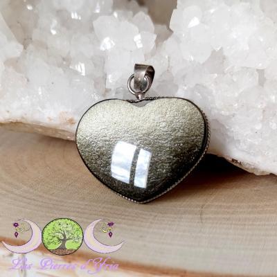 Pendentif coeur Obsidienne Dorée