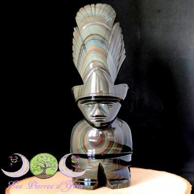 Obsidienne Oeil céleste - Statue Aztèque