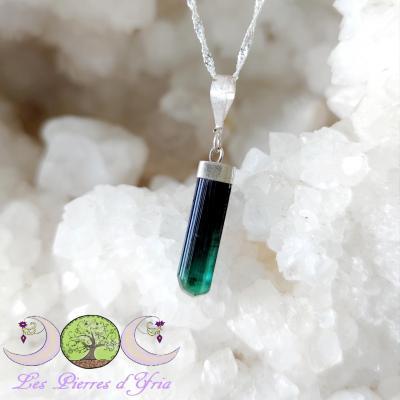 Pendentif Cristal brut Tourmaline bleue #3