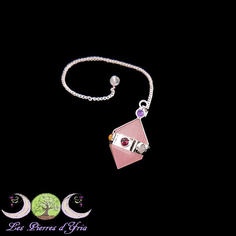 Pendulo biterminado de cuarzo rosa chakras gf