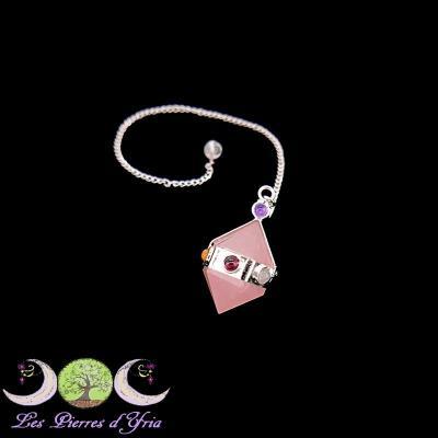 Pendule biterminé quartz rose